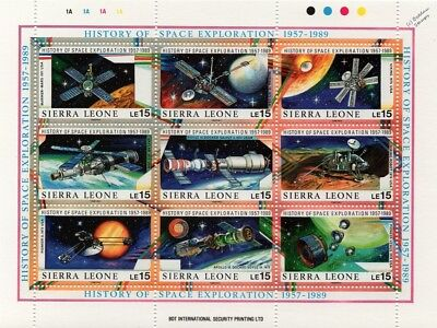 History of Space Exploration 1957-1989 Spacecraft Stamp Sheet #3 (Sierra Leone)