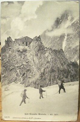 Vtg Postcard Mountaineering French Alps LES GRAND MULETS Mountain Hut FRANCE