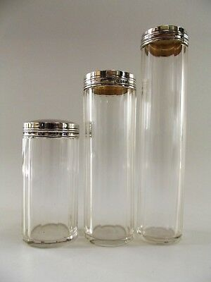Three Antique Dressing Table Bottles With Silver Lids London 1925 Ref 242/2