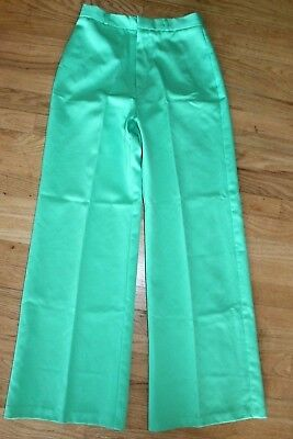 Vtg 60s 70s Women's Pants flare Mint green Mod polyester hippie S Small