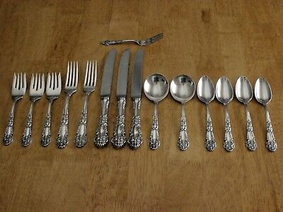 REED & BARTON VNTG Sterling FRENCH RENAISSANCE 15 Pc KNIVES FORKS SPOONS NM VG