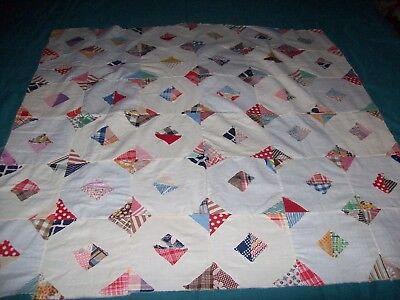 """primitive appliue quilt top small 36"""" square GUC hand stitched by a child"""