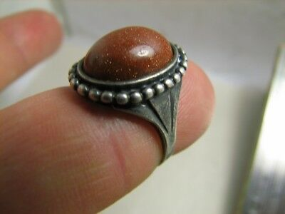 EXCELLENT ! AUTHOR'S WORK ! VINTAGE STERLING SILVER RING with STONE !  #110