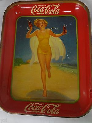Authentic Coke Coca Cola 1937 Girl Advertising Serving Tin Tray 584-P