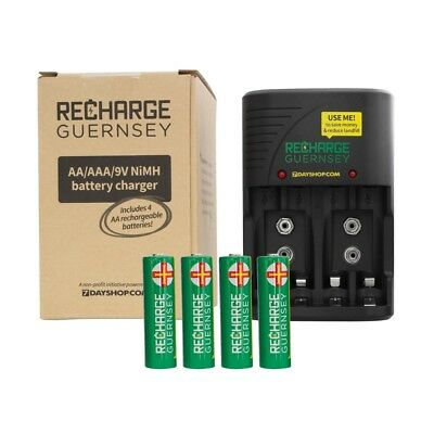 AA AAA and 9V NiMH Mains Battery Charger Supplied with 4x AA 2000 mAh Batteries
