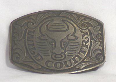 Bull With Ring In Nose 'WILD COUNTRY' Metal Belt Buckle
