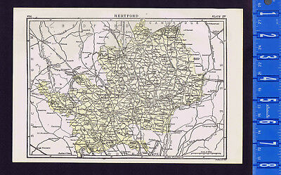County Town of Hertford in England - Map Print -- 1907