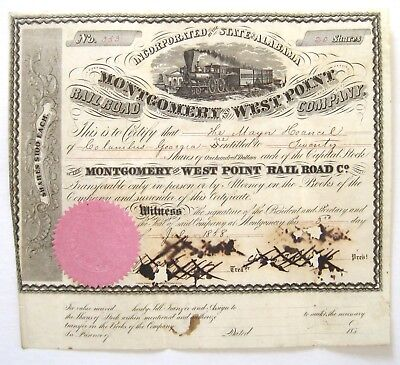 Montgomery & West Point Railroad Stock Certificate 1858