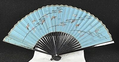 Antique Oriental Ladies Hand Fan Painted Birds Lacquered Paper Old Vintage