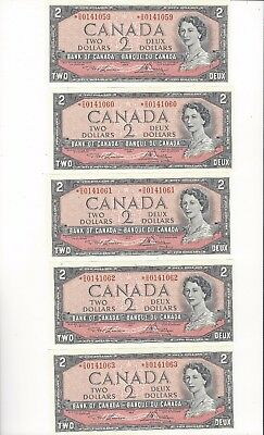 **1954**Canada $2 Note, Lawson/Bouey # *OG 0141059/60/61/62/63 BC-38dA Rep Notes
