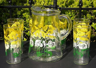 Vintage Yellow Calla Lily Mid Century Modern 6 Tall Glasses w Pitcher Set