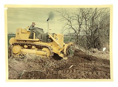1966 Vintage Color Photo Man Using International Harvester T15 Bulldozer 5 x 7""