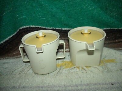 Vintage Tupperware Cream & Sugar Set Almond & Gold Plush Seal 1415-1 & 1414-3