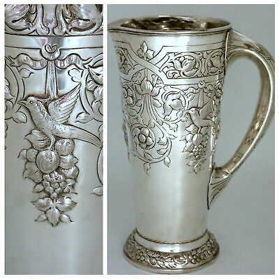 Sterling Silver Art Nouveau Aesthetic Birds Pitcher Black Starr & Frost