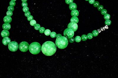 chinese Collectible real green Jade burnish bead old Vintage women Necklace