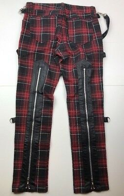RARE Lip service Womens Red & Blk plaid bondage pants w/ Zip Back 90'S PUNK ROCK