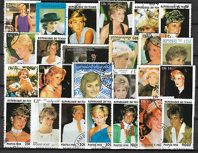 PRINCESS DIANA Collection Packet of 25 DIFFERENT STAMPS USED (Lot 2)