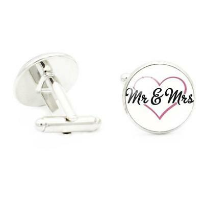 "W2317...cufflinks -"" Mr. & Mrs"" In A Heart - Gift Bag - Free Uk P&p"