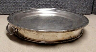 Antique Sheffield Plate Silverplate Warning Dish With Removable Plate 2 Handles