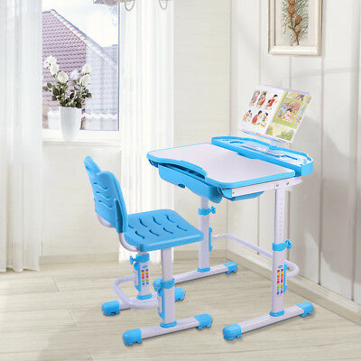 Children's Desk Height Adjustable Chair Set Child Kids Study Table Bule AB002