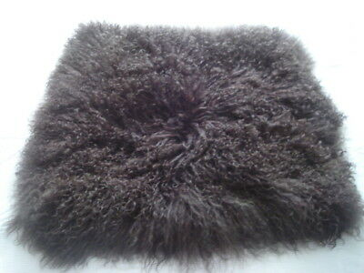 XXL Brown Mongolian Sheepskin Curly Cushion Cover 53 cm x 53 cm