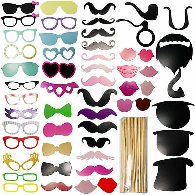58Pcs Fun Photo Booth Props On A Stick Wedding Birthday Christmas Party Event UK