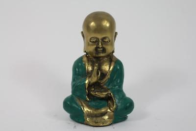 Skulptur Figur Bronze Messing teils grün patiniert Buddha Mönch in Meditation