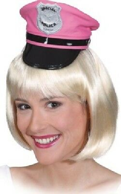 Ladies Pink Police Cop Hen Do Party Mini Hat Fancy Dress Costume Outfit Accesory