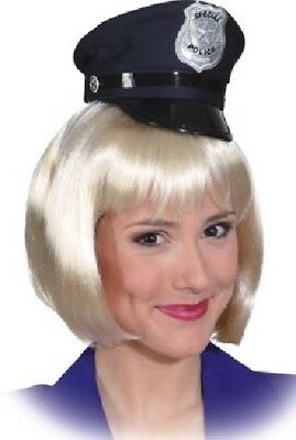 Ladies Navy Blue Police Cop Hen Do Party Mini Hat Fancy Dress Costume Outfit