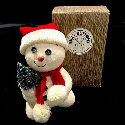 """Dept 56 Billy Buttons 7"""" Snowman with Hand Knit Winter Accessories 46548"""