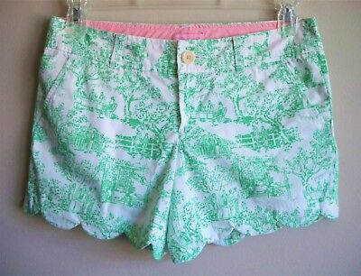 LILLY PULITZER Shorts Scalloped Hem Green White Womens Size 4