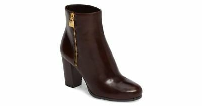 WOMENS MICHAEL KORS BOOTS Brown Margaret Leather Ankle Zip Heeled Booties 5.5 M