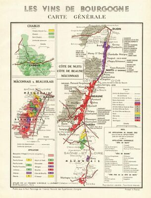 BURGUNDY BOURGOGNE WINE MAP Beaujolais appellations.Fleurie Brouilly LARMAT 1953