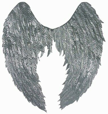 Metallic Feathered Wings Adult Costume Accessory, Silver
