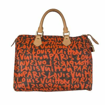 fb56a6e5fd99 54188 auth LOUIS VUITTON brown Monogram canvas GRAFFITI SPEEDY 30 Bag LTD ED