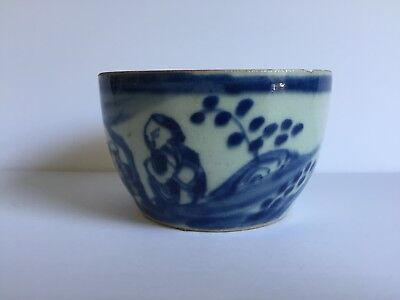 Antique Chinese Blue White Canton Porcelain Bowl No Lid 18th - 19thC