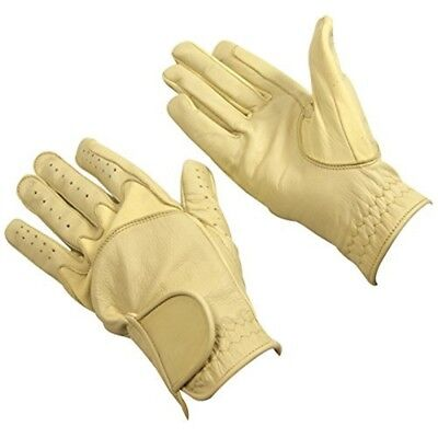 Bitz Horse Rider Bitz Flex Leather Gloves Adult Beige Medium Horse Riding Wear