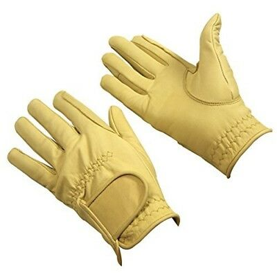 Bitz Horse Rider Bitz Leather Gloves Adult Beige Large Horse Riding Wear - Size