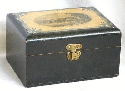 """Edwardian Wooden Trinket Box """" With Malice Toward None - With Charity For All """""""