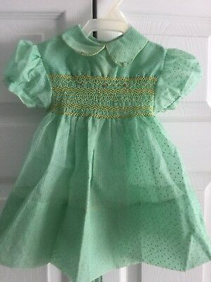 Vtg. Baby Dress Polly Flinders Style  Sheer Smocked Dotted Swiss Doll Playpal