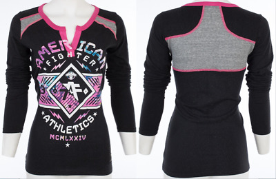 AMERICAN FIGHTER Womens LS T-Shirt HARTWICK MARBLE Athletic BLACK Biker UFC $48