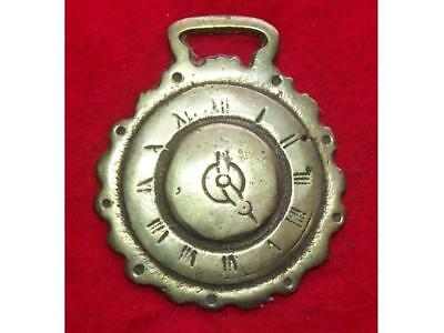 Vintage Cast Horse Brass of a Clock Face showing 5 o'clock ~ stamped ENGLAND #67
