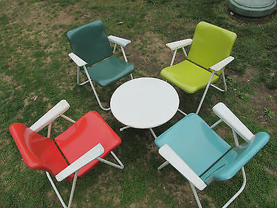 Vintage Russel Wright Sampson Mid Century  Modern Metal Folding Patio Chairs Set