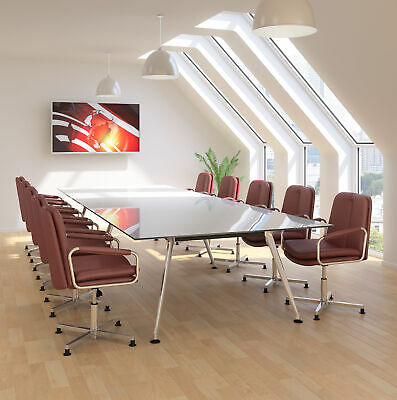 Sven Ambus Glass Conference Boardroom Meeting Table Metal Legs Finish Choice