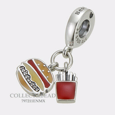 Authentic Pandora Silver Burger & Fries Enamel Bead 797211ENMX NEW SUMMER 2018!