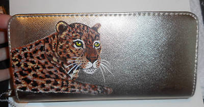 Leopard Hand Painted Leather Large Wallet for Women Evening Bag