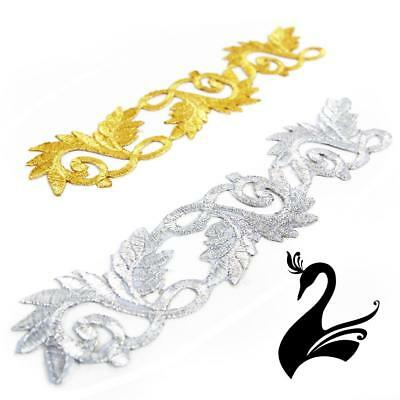 Motif Iron-On Embroidered Royal Leaf Applique Style 4989 20cm - Craft Millinery