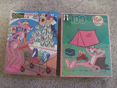 Lot Of Two 100 Pc  Pink Panther Jigsaw Puzzles 1985 1995 One Is Sealed Nr