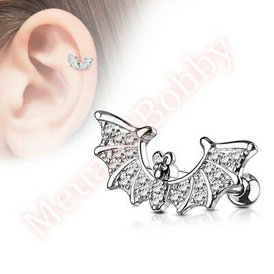 16G CZ Bat Cartilage Tragus Barbell Ear Ring Bar Stud Body Piercing Jewellery