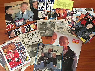 BROS lot of posters, clippings, stickers, patches, postcard.
